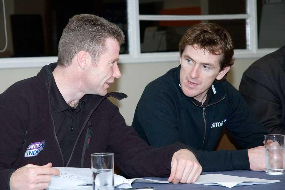 Tony McCoy and Mick Fitzgerald sharing their points of view during a Preview evening
